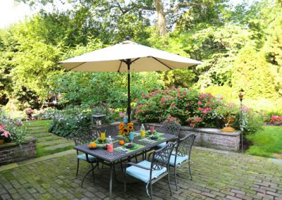 Sometimes the umbrella stands add a festive touch to the pool setting.
