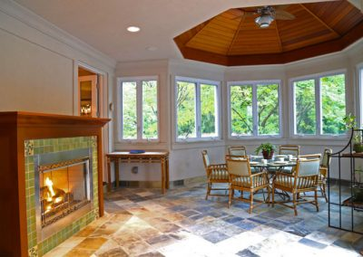 Brighton, NY, Houston Barnard Neighborhood, lit octagon-shaped panelled ceiling highlights dining area