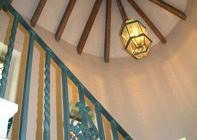 Brighton, NY, Houston Barnard Neighborhood, Domed ceiling with wooden beams and patinaed railing