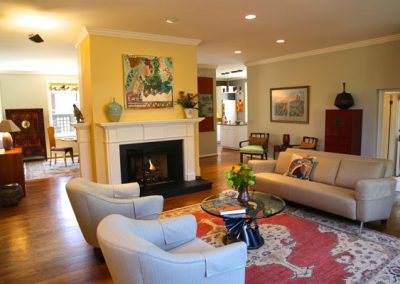 Turning on the gas fireplace brought incredible warmth to this carriage house's great room.