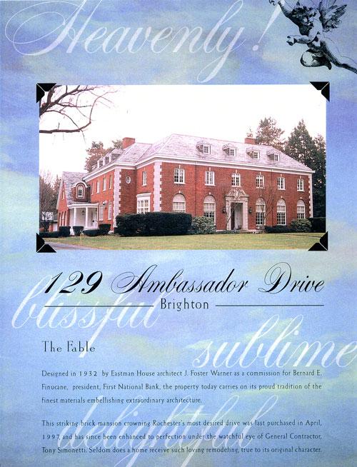 Property brochure cover, 129 Ambassador Dr., Brighton, NY