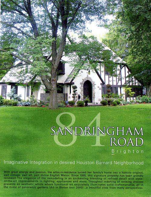 Property brochure cover, 180 Sandringham Rd., Brighton, NY.