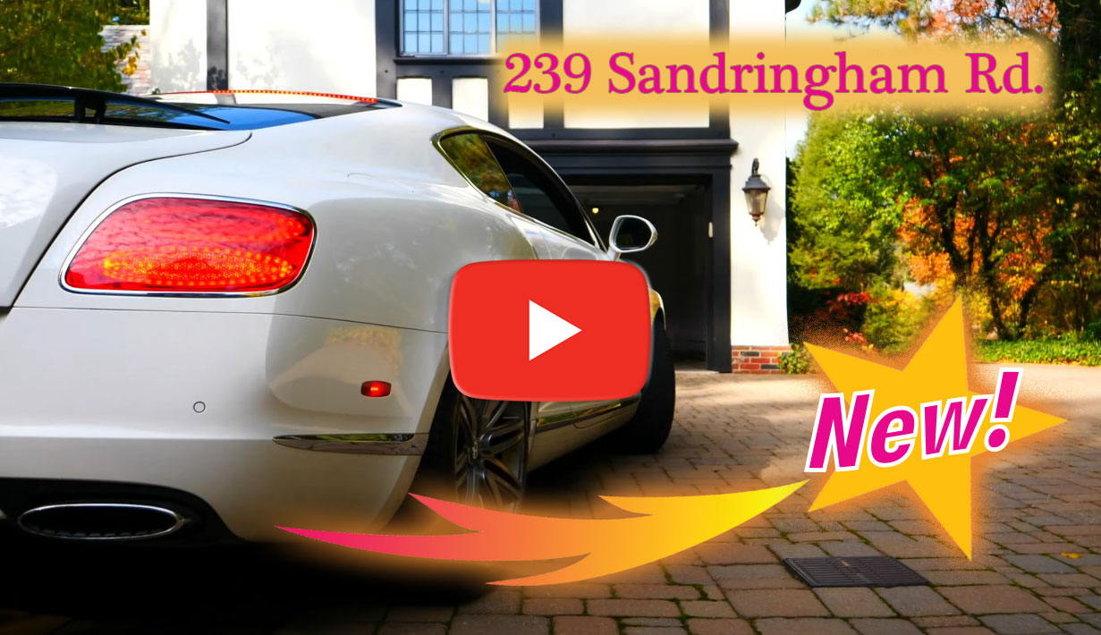 Stylized frame with text for link to YouTube video of property, 239 Sandringham Rd., Rochester, NY