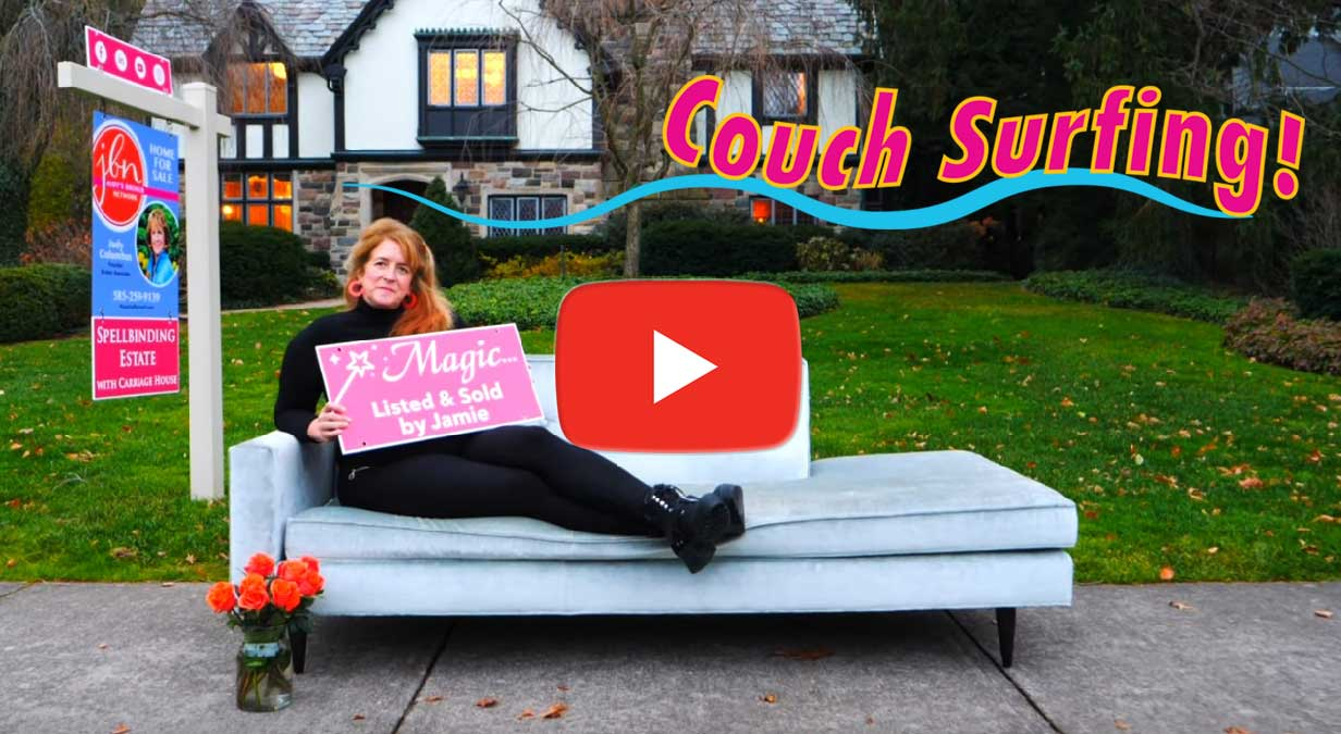 "Screen grab: ""Couch Surfing"" YouTube video for Judy's Broker Network"